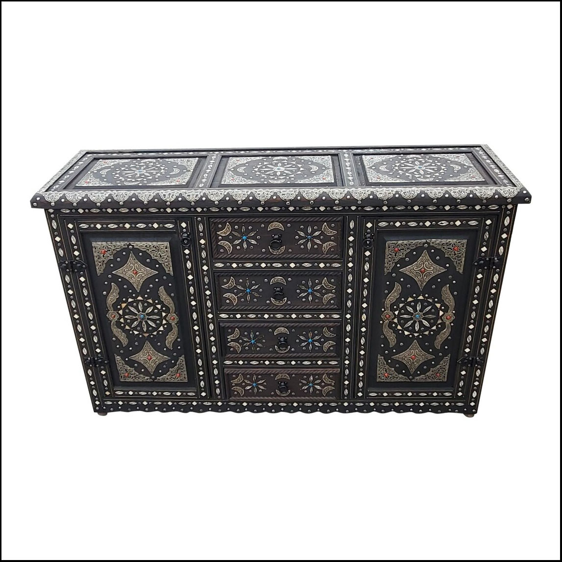 Cedar Wood Moroccan Cabinet, Bone and Metal Inlay