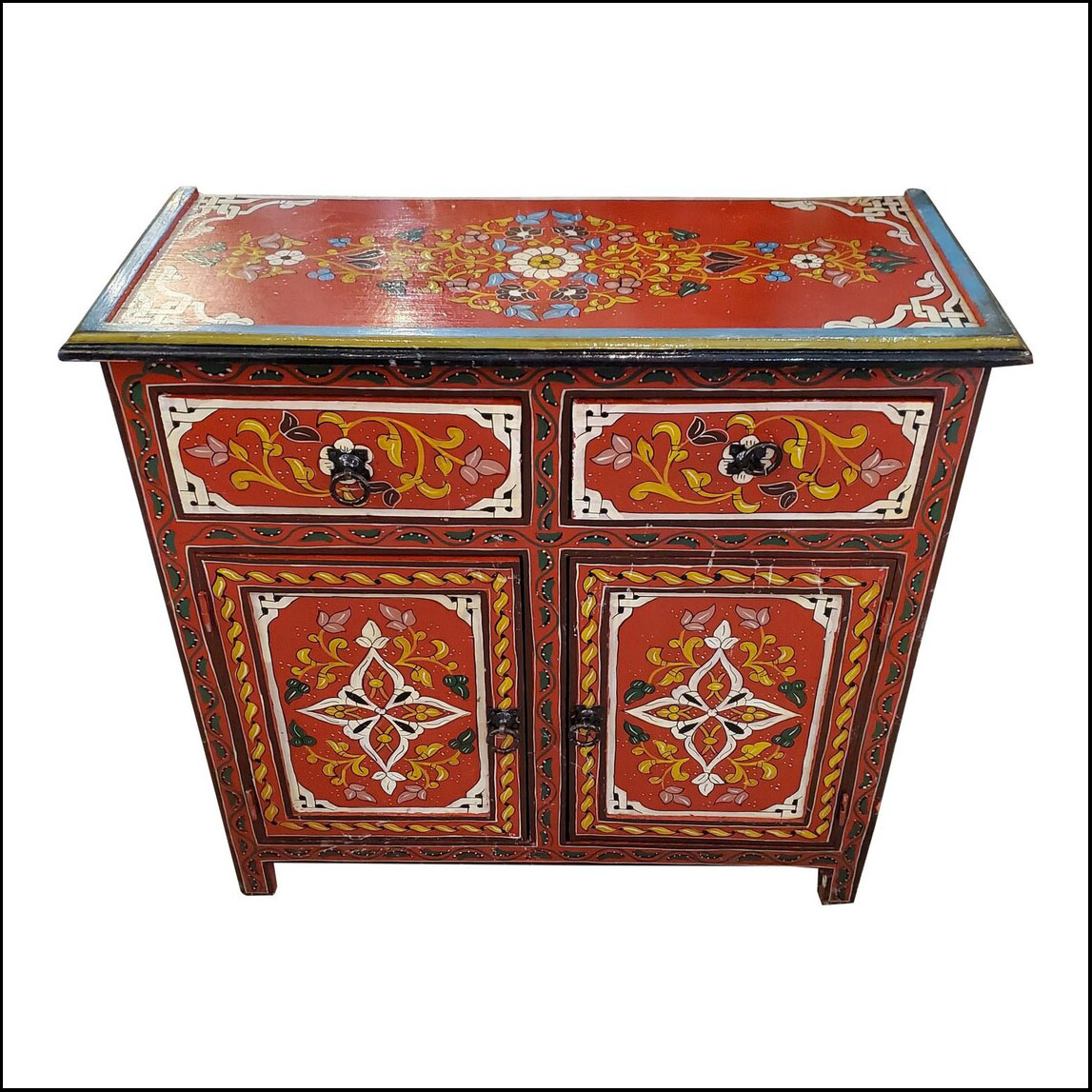 Moroccan Hand Painted Accent Chest/Nightstand