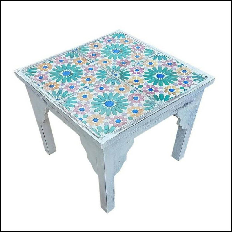 19th Century Mosaic Tiles Side Table