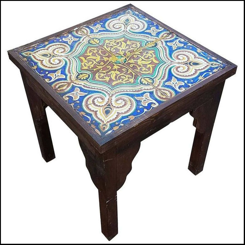 19th Century Mosaic Tiles-Side Table, Brown