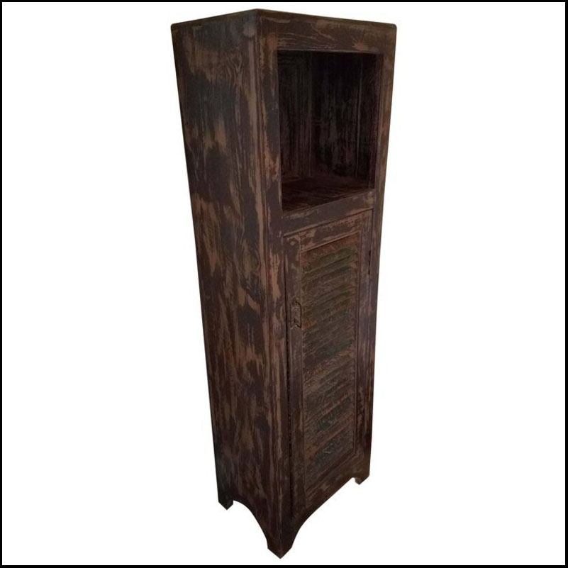 Aged Brown Moroccan Carved Cabinet – Old window shutter