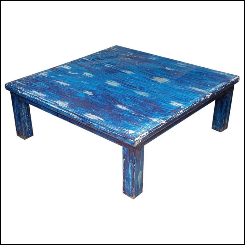 Moroccan Wooden Coffee Table, Bleach Blue 1