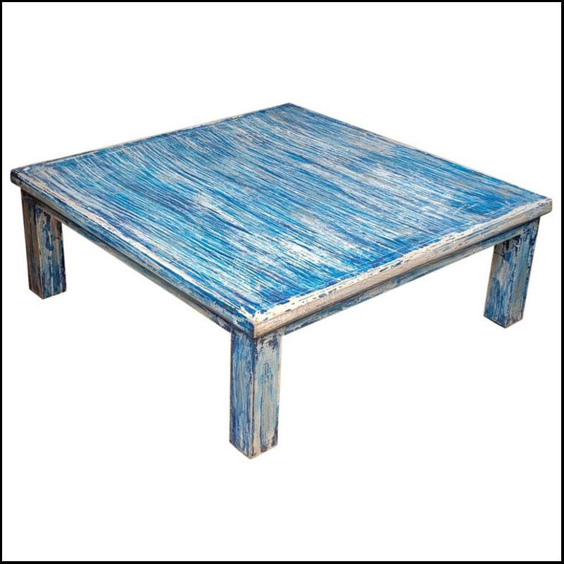 Moroccan Wooden Coffee Table, Bleach Blue 2