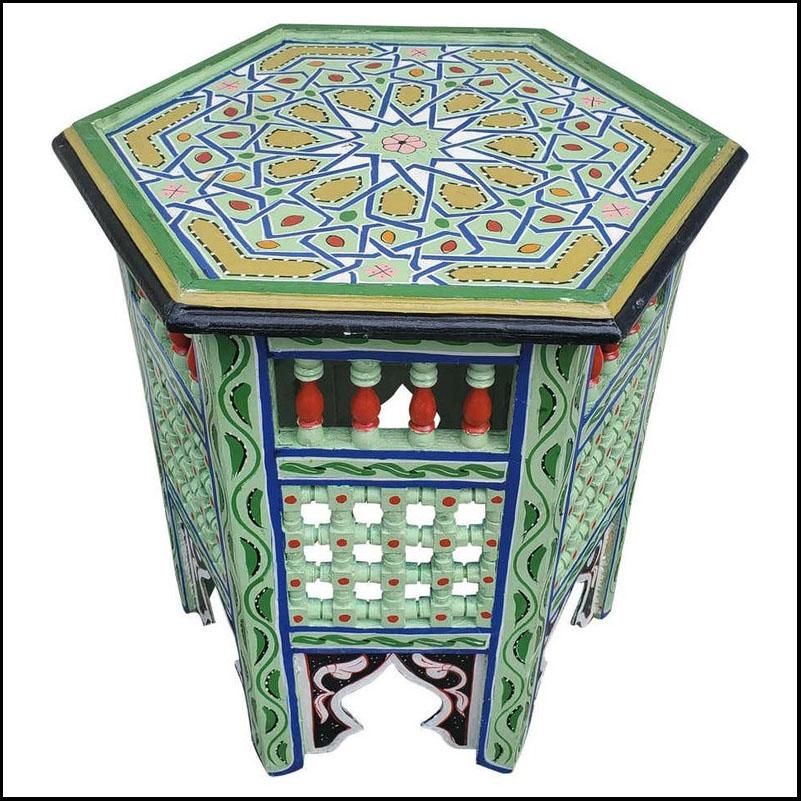 Moroccan Hexagonal Wooden End Table