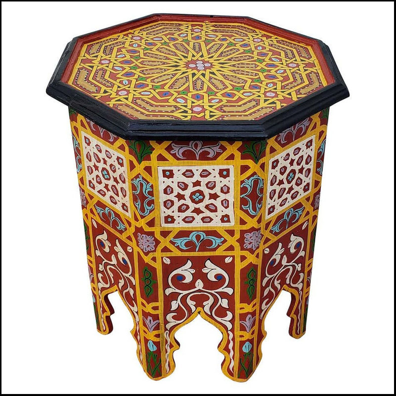 Moroccan Octagonal Wooden Side Table, Red Mustard