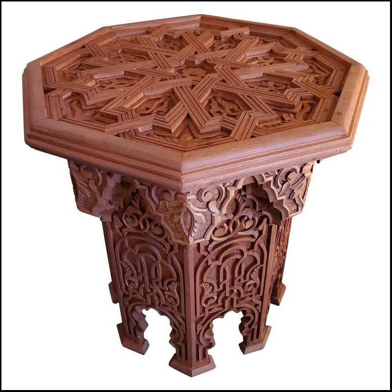 Moroccan Octagonal Wooden Side Table, Extra Carving