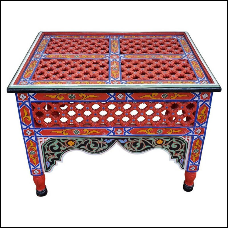 Moroccan Rectangular Wooden Side / End Table, Musharrabi Red