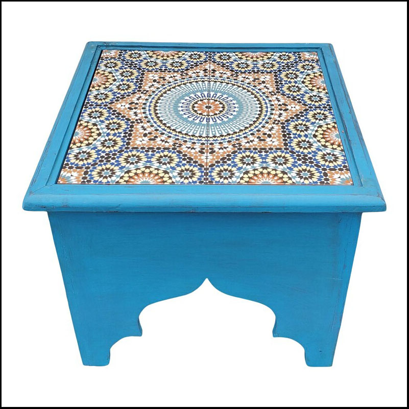 Blue Moroccan Wooden Side Table, Tile Top
