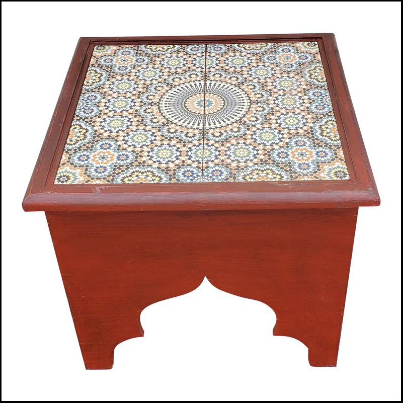 Burgundy Moroccan Wooden Side Table, Tile Top