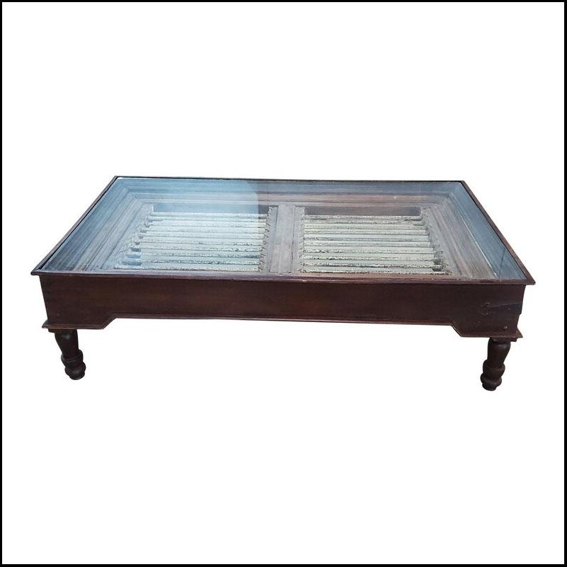 Indonesian Look Cedar Wood And Metal Coffee Table