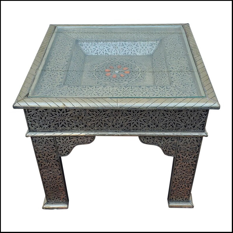 Metal Inlay Moroccan Side Table, Square Top