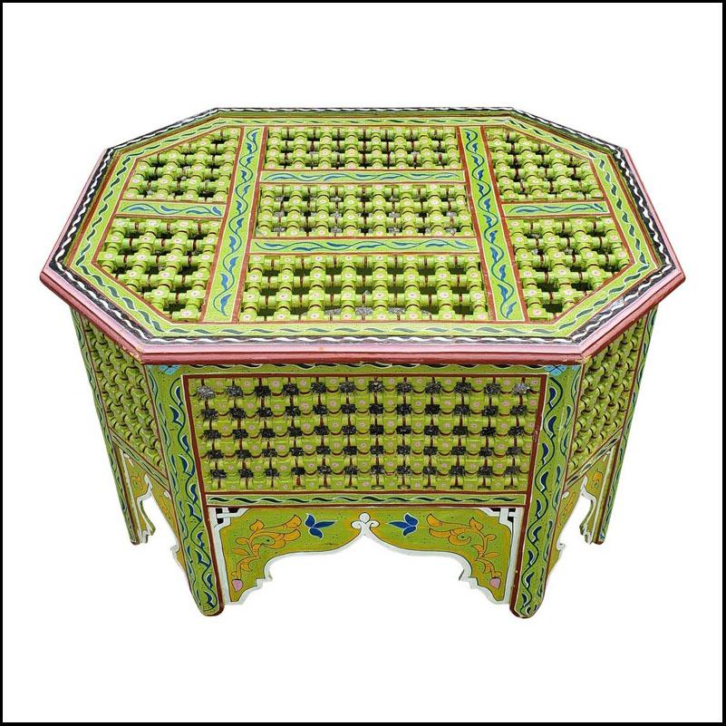Moroccan Wooden Coffee Table, Musharabi Green!