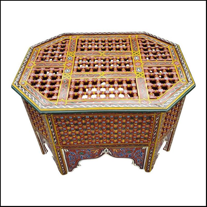 Moroccan Wooden Coffee Table, Musharabi Brown!