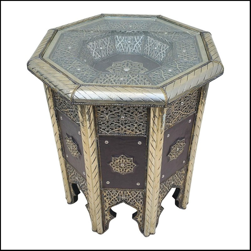 Moroccan Metal Inlay And Leather End Table, Octagonal Shape ll