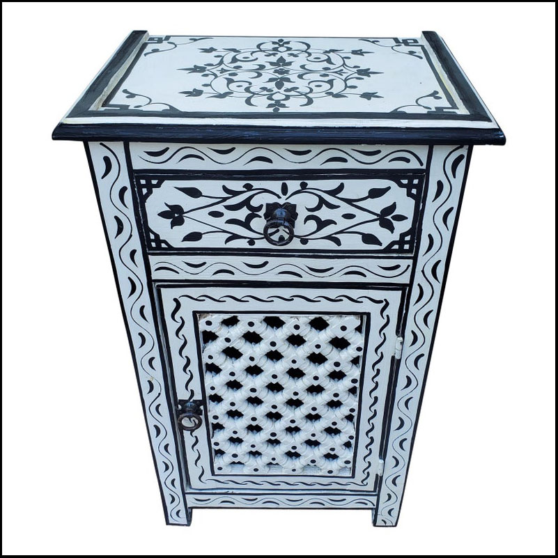 Moroccan Hand Painted Wooden Nightstand, Black And White