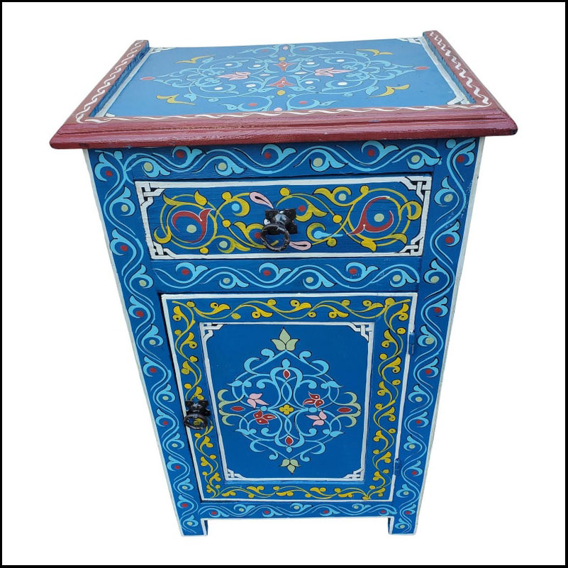 Moroccan Hand Painted Wooden Nightstand, Blue