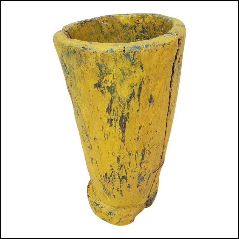 Funky Moroccan Wooden Vase – Yellow