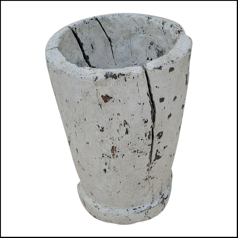 Funky Moroccan Wooden Vase – White