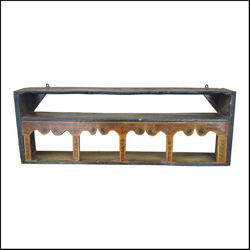 Chefchawen Hand Painted Reclaimed Wood Wall Shelf