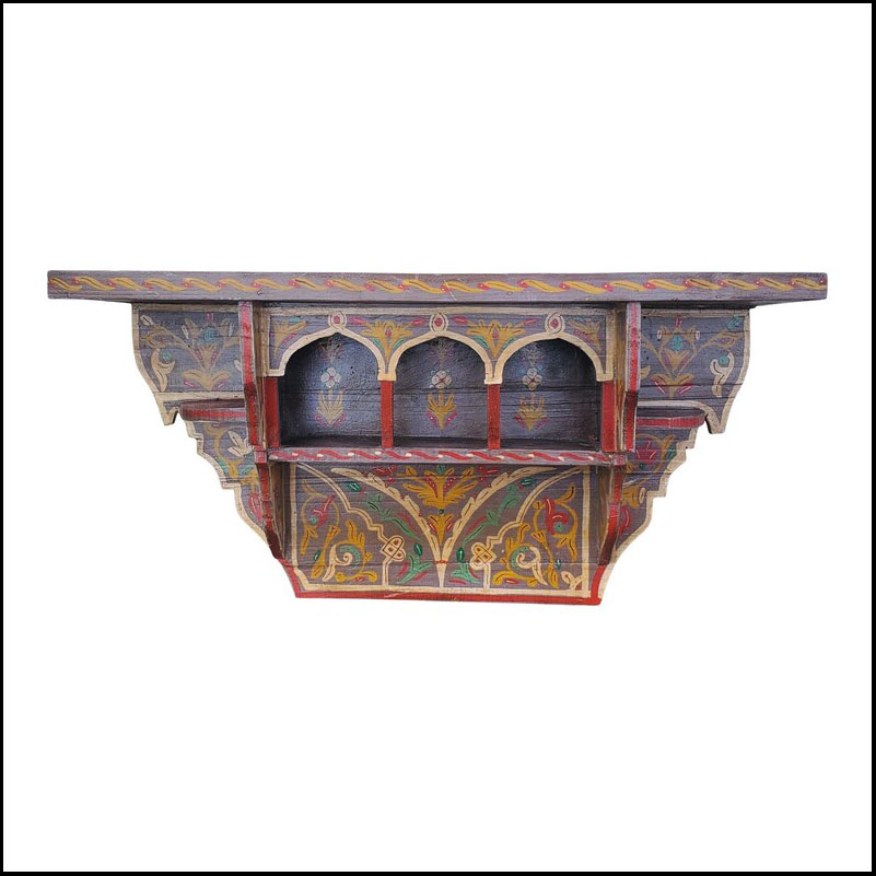 Tanger Moroccan Wooden Shelf All Hand-Painted 2